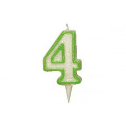 Candela Glitterata Fluorescente Verde cm 9 n° 4