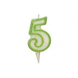 Candela Glitterata Fluorescente Verde cm 9 n° 5