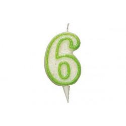 Candela Glitterata Fluorescente Verde cm 9 n° 6