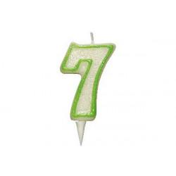 Candela Glitterata Fluorescente Verde cm 9 n° 7