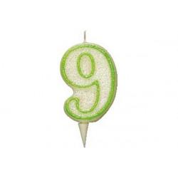 Candela Glitterata Fluorescente Verde cm 9 n° 9