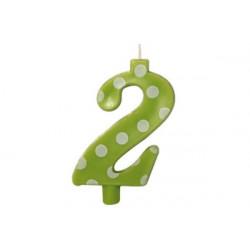Candela Pois Verde Lime Maxi cm 12 n° 2