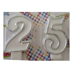 Candela anniversario di matrimonio 25 anni argento