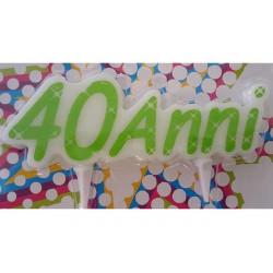 Candela sagomata compleanno 40 Anni cm 12x4
