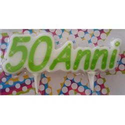 Candela sagomata compleanno 50 Anni cm 12x4