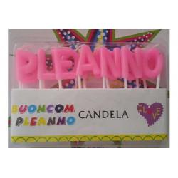 """Candeline alfabetiche """"Buon Compleanno"""" Rosa"""