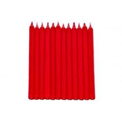 12 Candele a Stelo Rosso con base cm 10