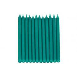 12 Candele a Stelo Verde perlato con base cm 10