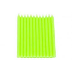 12 Candele a Stelo Verde Lime perlato con base cm 10