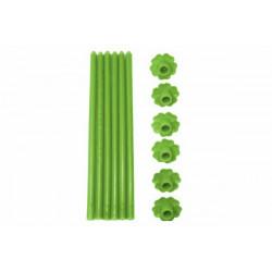 6 Candele a Stelo in paraffina con base forma fiore colore verde
