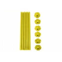 6 Candele a Stelo in paraffina con base forma fiore colore giallo cm 23