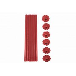 6 Candele a Stelo in paraffina con base forma fiore colore rosso cm 23