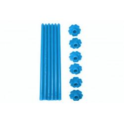 6 Candele a Stelo in paraffina con base forma fiore colore azzurro cm 23