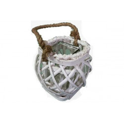 Vaso portafiori in legno con bicchiere quadrato 18x16cm