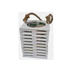 Vaso portafiori in legno con bicchiere quadrato 14x18cm