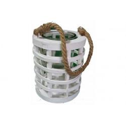 Vaso portafiori in legno con bicchiere rotondo 18x15cm