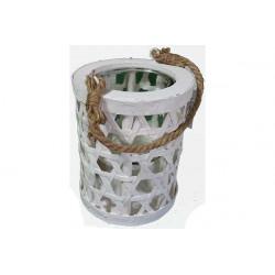Vaso portafiori in legno con bicchiere tondo 18x15cm