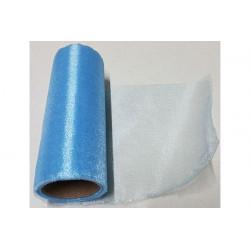 Rotolo in organza effetto lucido Azzurro 14cmx8m