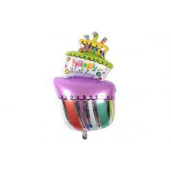 """Palloncino a forma di torta 90cm con scritta """"Happy Birthday"""""""