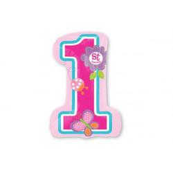 Palloncino Primo Compleanno Rosa 25x46cm