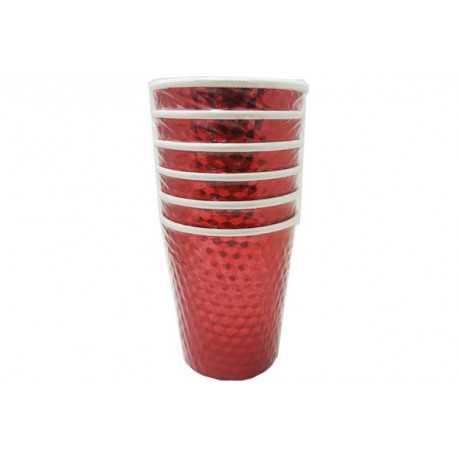 Bicchiere effetto specchio metallizzato rosso pz6