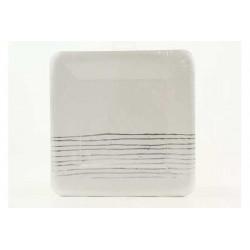 Piatto carta quadrato con decoro argento cm 24 pz 6