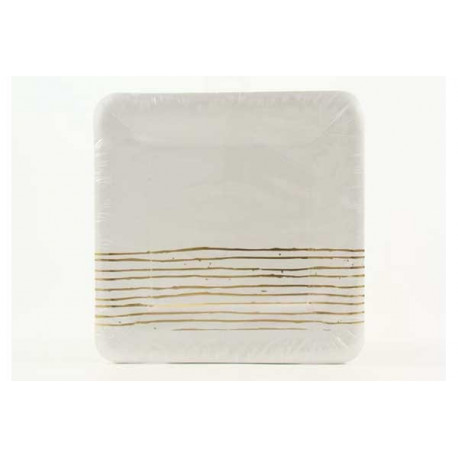 Piatto carta quadrato con decoro oro cm 24 pz 6
