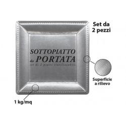 2 Sottopiatto in cartoncino quadrati argento metallizzato 33cm