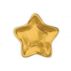 Piatto carta forma stella oro cm23 pz4
