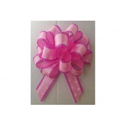 Coccarda Fiocco piccola o Coccardina Rosa con pois Bianchi 23mm 10pz