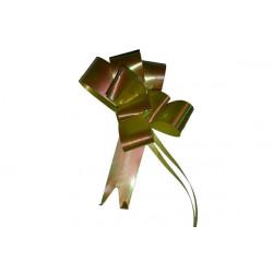 Coccarda Fiocco autotirante Giallo Iridescente larghezza 18mm diametro 7cm 10pz