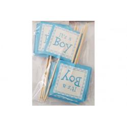 """Bandierine decorazione cupcake Bambino """"It's a boy"""" pz 12"""