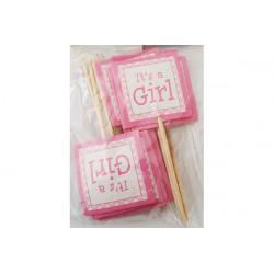 "Bandierine decorazione cupcake Bambina ""It's a girl"" pz 12"