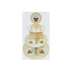 Set alzata per dolci 3 piani in cartoncino per alimenti cm 30x40 colore giallo