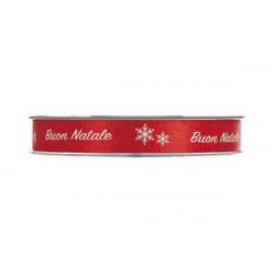 Nastro Doppio Raso Buon Natale Rosso 12mm x 25mt