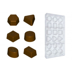 Stampo cioccolato forma pralineria mista geometrica 10 gr in policarbonato