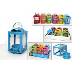 Lanterne tealight colorate portacandela cm 9x5x5 pz 6