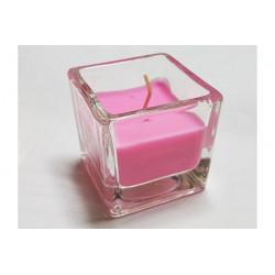 Candela tealight profumata in vasetto di vetro colore Rosa