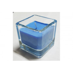Candela tealight profumata in vasetto di vetro colore Blu