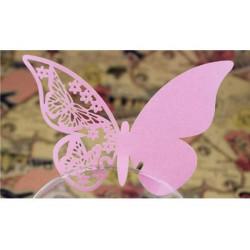Farfalla segnaposto in cartoncino perlato pz 50 rosa
