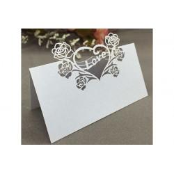 Segnaposto matrimonio in cartoncino perlato bianco tema cuore pz 12