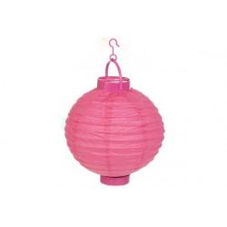 Lanterna decorativa in carta di riso con led cm 20 rosa