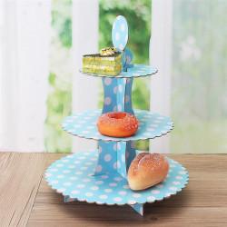 Set alzata per dolci 3 piani in cartoncino per alimenti decorazione pois azzurri