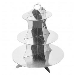 Set alzata per dolci 3 piani in cartoncino per alimenti 30x35cm argento