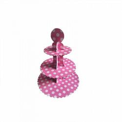 Set alzata per dolci 3 piani in cartoncino per alimenti a pois rosa