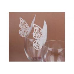 Farfalla segnaposto in cartoncino perlato pz 50 bianco