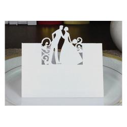 Segnaposto matrimonio in cartoncino perlato bianco tema sposi pz 12