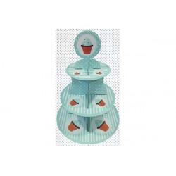 Set alzata per dolci 3 piani in cartoncino cm 30x40 colore verde