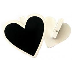 Lavagnetta segnaposto cuore con molletta pz 4