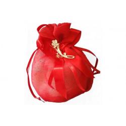 Sacchetto portaconfetti in organza laurea con decorazione fiore in zama